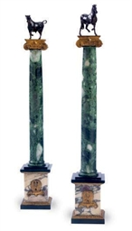 A PAIR OF MARBLE, PATINATED AN