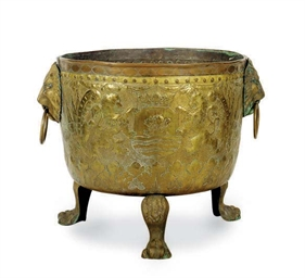 A DUTCH BRASS JARDINIERE,