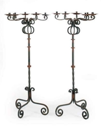 A PAIR OF WROUGHT IRON SEVEN-L