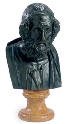 A PATINATED-METAL BUST OF A SC