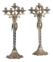 A PAIR OF SILVERED-METAL FIVE-
