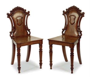 A PAIR OF VICTORIAN MAHOGANY H