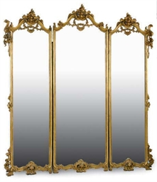 A GILTWOOD TRI-PART MIRROR,