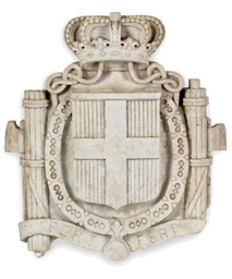 AN ITALIAN MARBLE SHIELD,