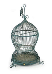 A GREY-PAINTED METAL BIRDCAGE,