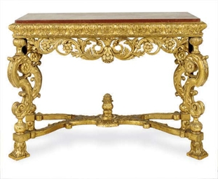 A GILTWOOD AND FAUX MARBLE TOP