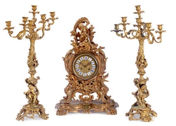 A FRENCH ORMOLU THREE-PIECE ST