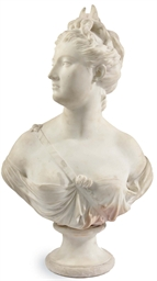 A WHITE MARBLE BUST OF DIANA,