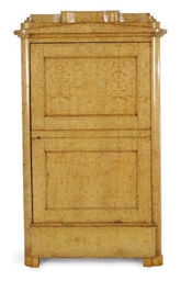 A BIEDERMEIER BIRCH ARMOIRE,