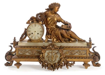 A FRENCH GILT-SPELTER AND ONYX