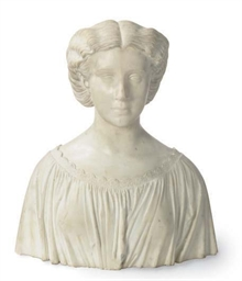 A WHITE MARBLE BUST OF BEATRIC