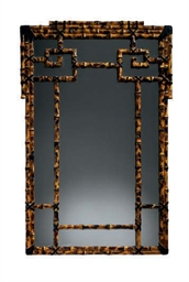A FAUX BAMBOO-PAINTED MIRROR,