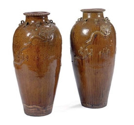 A PAIR OF CHINESE BROWN-GLAZED