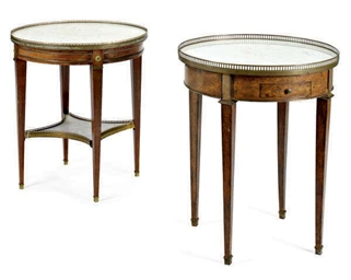 TWO FRENCH BOUILLOTTE TABLES,