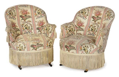 A PAIR OF FRENCH CHINTZ UPHOLS