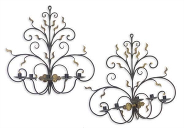 A PAIR OF WROUGHT-IRON AND PAR