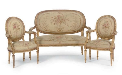 A GILTWOOD AND AUBUSSON UPHOLS