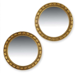 A PAIR OF GILTWOOD CONVEX MIRR