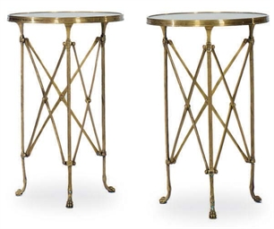 A PAIR OF GILT-BRONZE AND MARB