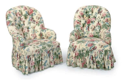 A PAIR OF CHINTZ UPHOLSTERED S