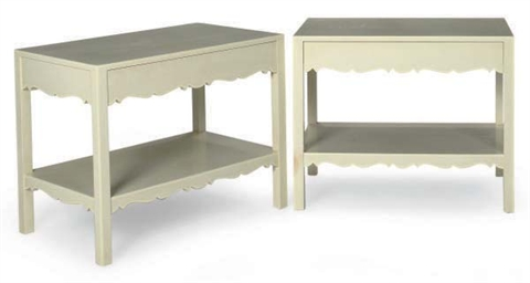 A PAIR OF PAINTED SIDE TABLES,