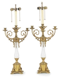 A PAIR OF GILT-BRONZE AND OPAL