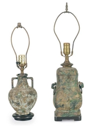 TWO ARCHAIC BRONZE TABLE LAMPS