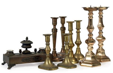 FOUR PAIRS OF BRASS CANDLESTIC