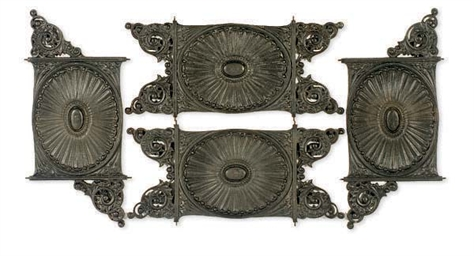 TWO PAIRS OF CAST-IRON BALUSTE