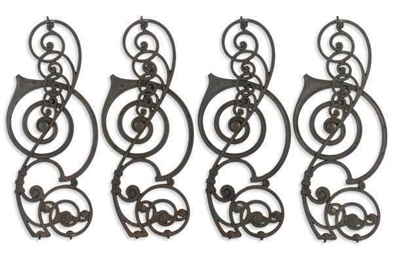 FOUR CAST-IRON STAIR BALUSTERS