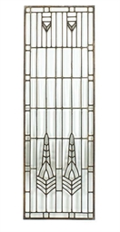 A LEADED GLASS WINDOW,