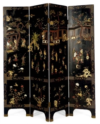 A CHINESE HARDSTONE-INLAID BLA