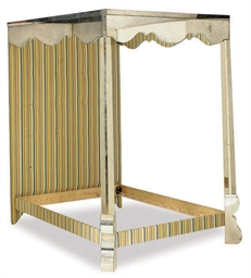 A MIRRORED AND UPHOLSTERED FOU