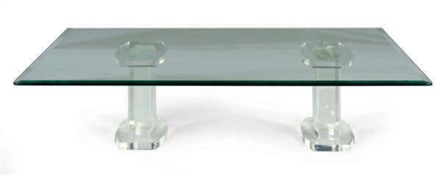 A LUCITE DOUBLE-PEDESTAL AND G