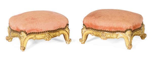 A PAIR OF FRENCH GILTWOOD FOOT