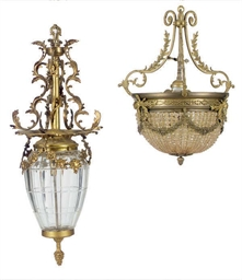 TWO GILT-METAL AND GLASS LIGHT