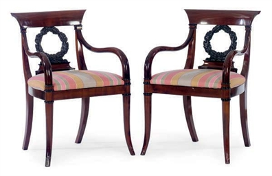 A PAIR OF MAHOGANY AND EBONIZE