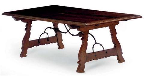 A SPANISH WALNUT TRESTLE TABLE