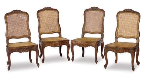 A SET OF FOUR FRENCH WALNUT AN