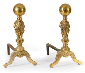 A PAIR OF BRASS FIGURAL ANDIRO