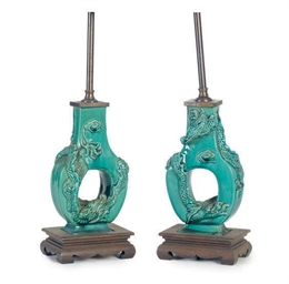 A PAIR OF CHINESE TURQUOISE GL