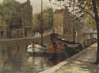 Moored boats in an Amsterdam c