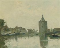 A drawbridge seen from the water, Enkhuizen