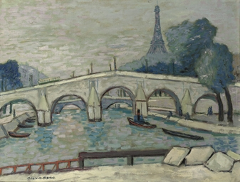 A view of the Seine, the Eiffe