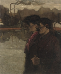 Workmen in the harbour