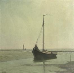 A boat in the Zuiderzee near E