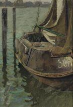 Sailing boat in the harbour of Scheveningen