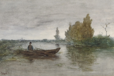 An angler in a polder landscap