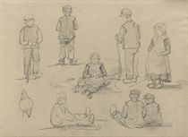 the original leather portfolio with 97 drawings, watercolours and oil sketches, depicting mainly forest and figure studies, some works are by the hand of Barbara van Houten (1862-1950), some of the sketches are signed.