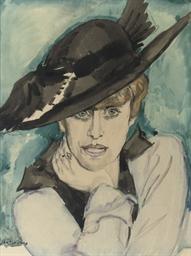 Vrouw met zwarte hoed: a lady